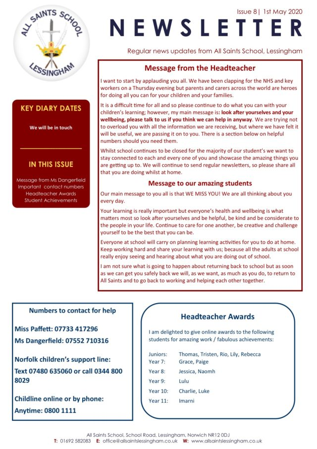 Issue 8 May Newsletter 1.5.2020