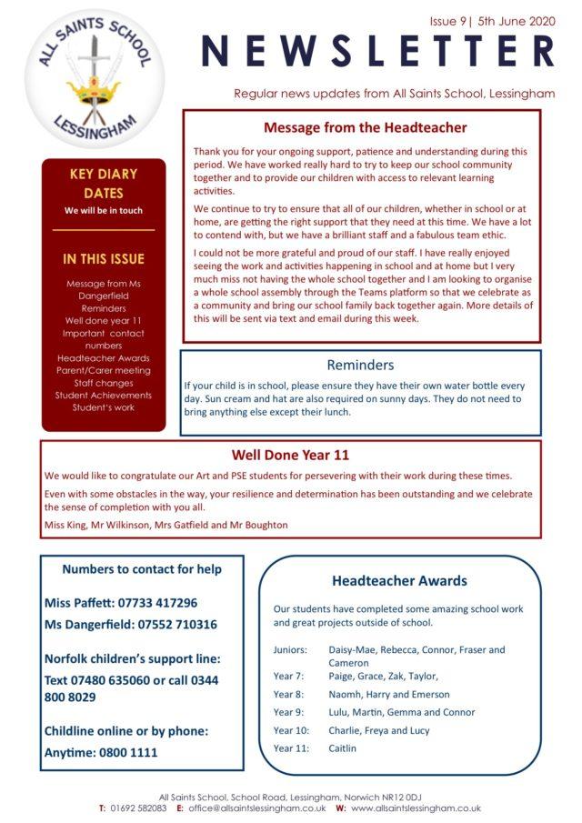 Issue 9 June Newsletter 5.6.2020
