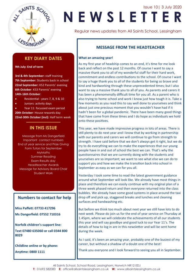 Issue 10 July Newsletter 3.7.2020