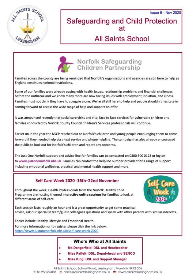 Issue 6 - Safeguarding Newsletter 17.11.20