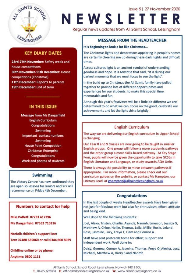 Issue 7 Newsletter 27.11.20