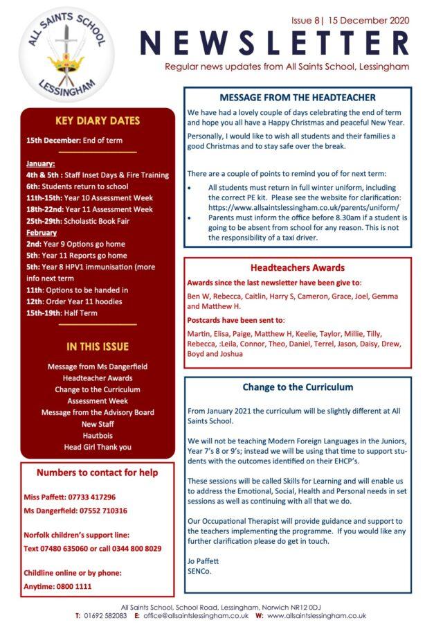 Issue 8 Newsletter 15.12.20