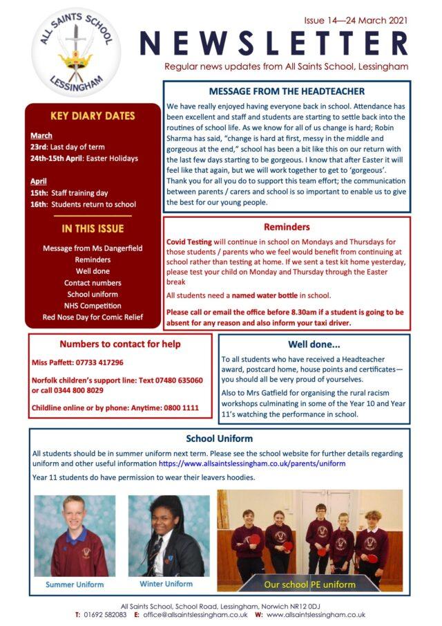 Issue 14 Newsletter 24.3.2021